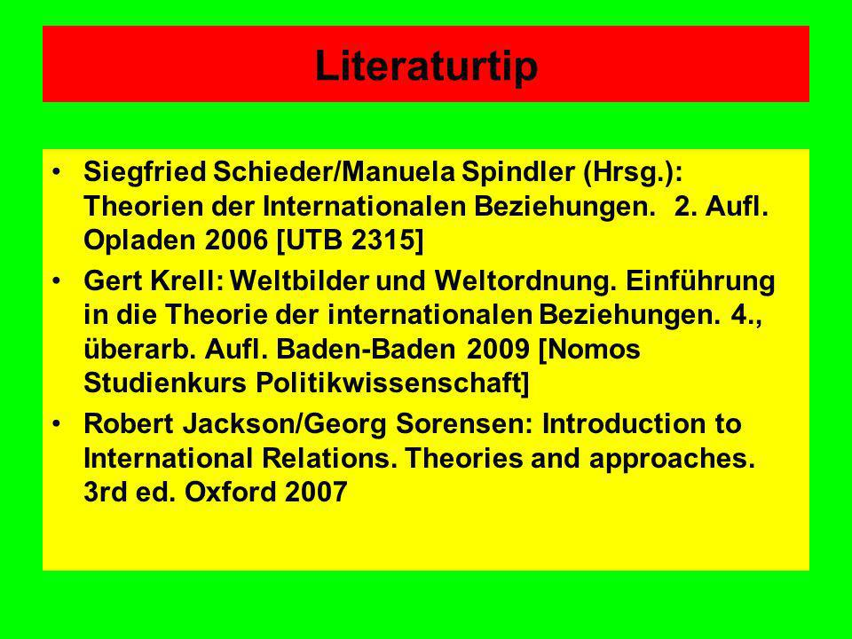 Literaturtip Siegfried Schieder/Manuela Spindler (Hrsg.): Theorien der Internationalen Beziehungen. 2. Aufl. Opladen 2006 [UTB 2315]